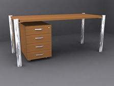 Офисный стол с выдвижной тумбой